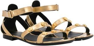 Versace Metallic Effect Teen Sandals With Studs