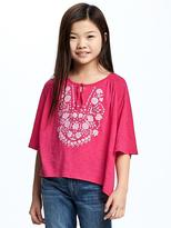 Old Navy Embellished Raglan-Sleeve Swing Top for Girls