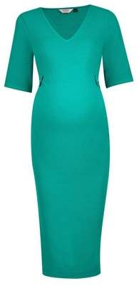 Dorothy Perkins Womens **Maternity Green Button Tab Detail Bodycon Dress, Green