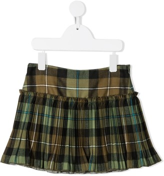 Il Gufo Pleated Tartan Skirt