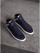 Burberry House Check Cotton And Calf Suede High-top Trainers , Size: 46, Blue