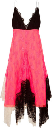 Christopher Kane Asymmetric Color-block Lace Midi Dress