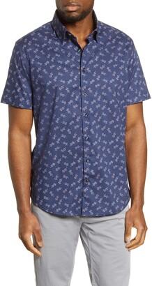 Stone Rose Gecko Print Short Sleeve Button-Up Shirt