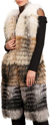 Burnett Long Stripped Fox Fur Vest