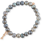 Sydney Evan 8mm Labradorite Beaded Bracelet with Diamond Love Script Charm
