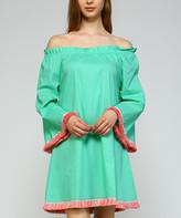 Simply Boho La Simply Boho LA Women's Casual Dresses MINT - Mint & Red Fringe-Trim Bell-Sleeve Off-Shoulder Dress - Women