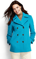 Lands' End Women's Petite Luxe Wool Peacoat-Vicuna