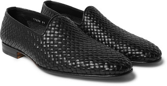 Santoni Woven Leather Loafers