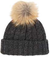 Crown Cap MEN'S FUR-POM-POM-DETAILED WOOL-BLEND BEANIE