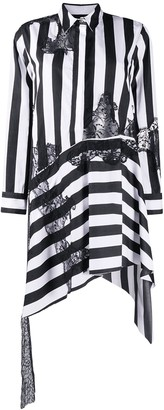 Marques Almeida Lace Insert Asymmetric Shirt Dress Black & White