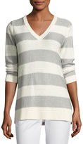 Neiman Marcus 3/4-Sleeve Sequin Striped V-Neck Pullover
