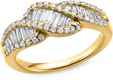 Zales 1-1/4 CT. T.W. Baguette and Round Diamond Wave Band in 14K Gold