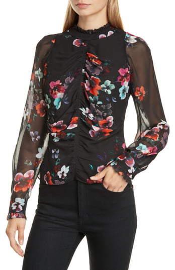 Nicholas Floral Ruched Sheer Sleeve Silk Georgette Blouse