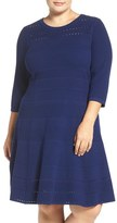 Eliza J Texture Knit Fit & Flare Dress (Plus Size)