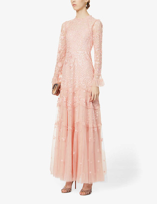 Needle And Thread Marigold Rose floral-embroidered mesh maxi dress