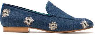Blue Bird Shoes Mirror Embellished Denim Loafers