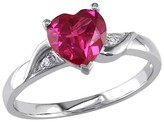 Allura 1 5/8 CT. T.W. Simulated Heart Shaped Ruby and 0.01 CT. T.W. Diamond Ring in Sterling Silver (GH I3)