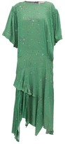 Preen Line Camilla Asymmetric Ditsy-print Crepe Midi Dress - Womens - Green Multi