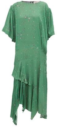 Preen Line Camilla Asymmetric Ditsy-print Crepe Midi Dress - Green Multi