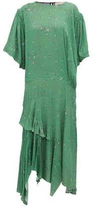Preen Line Camilla Asymmetric Ditsy Print Crepe Midi Dress - Womens - Green Multi