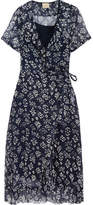 Cloe Cassandro - Kimi Ruffled Floral-print Silk-chiffon Wrap Dress - Navy