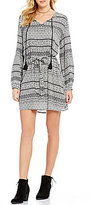 Jessica Simpson Arielle Printed Lace-Up Shift Dress