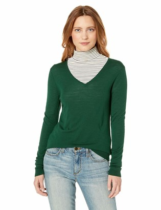 Lark & Ro Amazon Brand Women's Merino Wool Long Sleeve V Neck Sweater