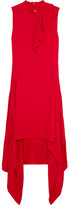 Marni Asymmetric Ruffled Crepe Dress - Red