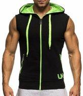 Bmeigo Mens Sleeveless Sweatshirt Hoodies Tops Zip up Vest Casual Fitness