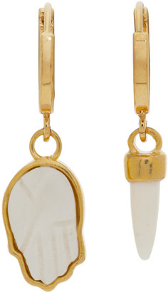 Isabel Marant Gold and Off-White Bone Mismatched Earrings
