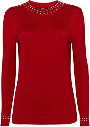 Wallis Red Stud High Neck Jumper