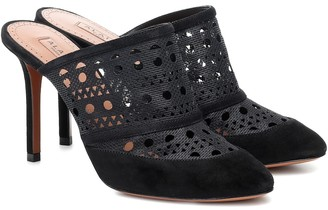 Alaia Laser-cut mesh and suede mules