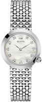 Bulova Women's Diamond Accent Stainless Steel Mesh Bracelet Watch 28mm 96P163