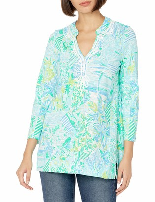 """Lilly Pulitzer Women's 29"""" Garment-Washed Knit Tunic with Band Collar and Custom Soutache Artwork"""