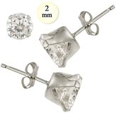 Inspirelista Sterling Silver Stud Earring Aprx .10 Carat Total Weight, 2mm Each Round Simulated Diamond Earring. Set on Stamping Setting & Friction Style Post