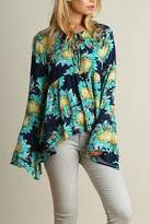 Umgee USA Teal Sunflower Top