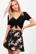 boohoo Petite Abigail Woven Aline Frill Mini Skirt black