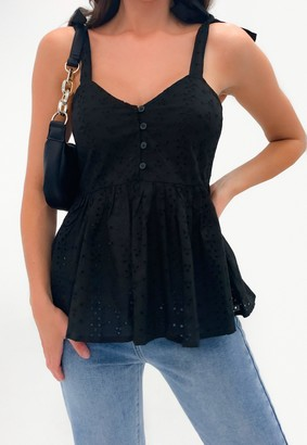 Missguided Black Broderie Bow Shoulder Strappy Smock Top