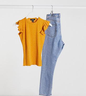 New Look Petite frill shoulder top in orange