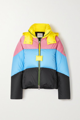 MONCLER GENIUS + 1 Jw Anderson Bickly Color-block Hooded Quilted Shell Down Jacket - Light blue