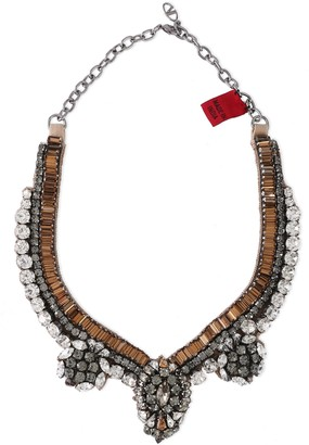 Valentino Garavani Silver-tone, Crystal And Satin Necklace
