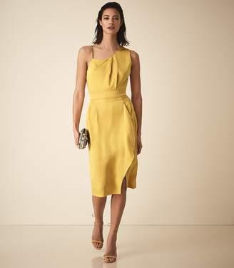Reiss SARA ONE SHOULDER COCKTAIL DRESS Yellow