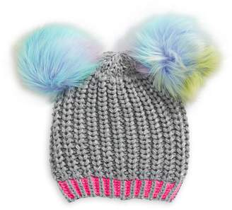 Winterproof Little Kid's Knit Double Rainbow Faux Fur Pom-Pom Hat