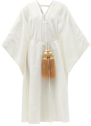 Fil De Vie Oasis Belted Linen Kaftan - Cream