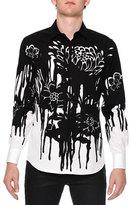 Alexander McQueen Dripping Flower-Print Woven Shirt, Black/White
