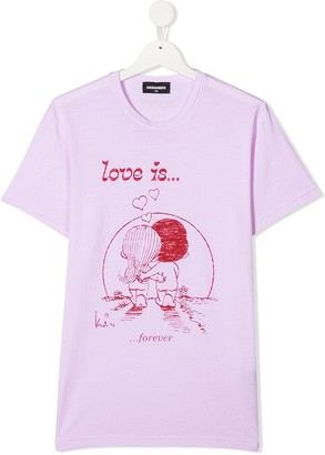 DSQUARED2 TEEN Love Is... print T-shirt