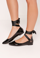 Missguided Black Eyelet Tie Detail Flats