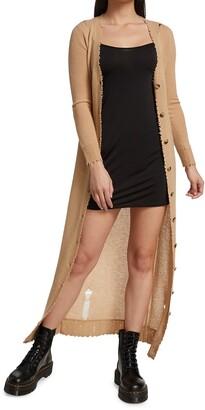 R 13 Distressed Cashmere Cardigan Dress