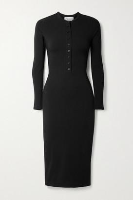 Reformation Net Sustain Stein Organic Cotton-blend Jersey Midi Dress - Black