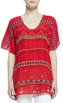 Johnny Was Colorful Daisy Eyelet Blouse, Fiery Red, Plus Size